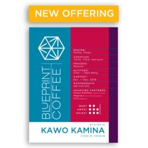 Kawo Kamina is a semi-forest coffee farm in the Sheka Forest of Ethiopia. The coffee is roasted by Blueprint Coffee.