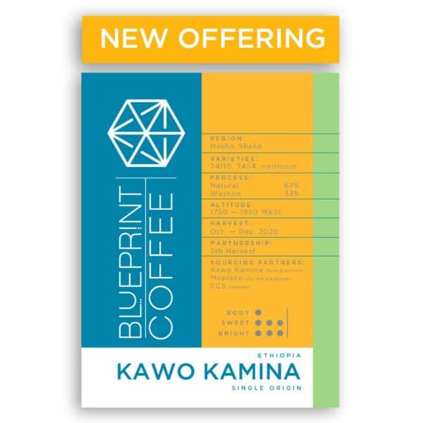 A 12 ounce bag of Blueprint Coffee roasted coffee beans from the farm Kawo Kamina in Ethiopia.