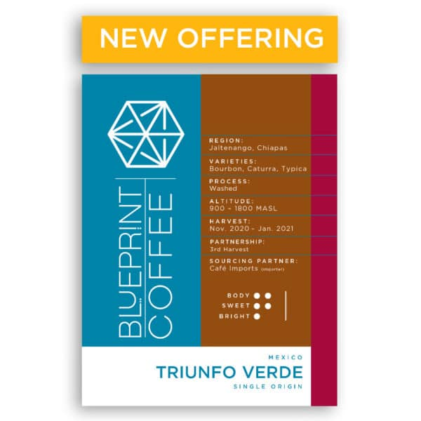 Triunfo Verde coffee sourced from Mexico and roasted by Blueprint Coffee available in 12oz or 2 pound bags.