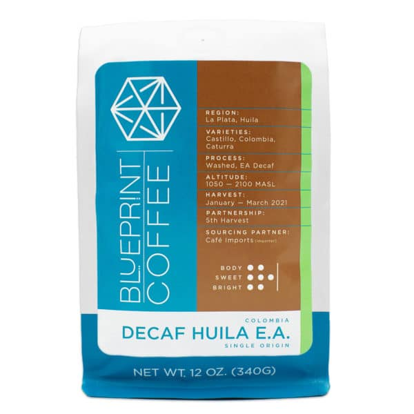 A 12oz bag of coffee beans from Huila, Colombia. Roasted by Blueprint Coffee after being decaffeinated in Colombia.