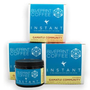 Our instant coffee from the Gamatui Community in Uganda comes in multiple formats and sizes.