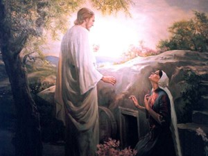 Mary meets the gardener at the tomb (Jesus is revealed).
