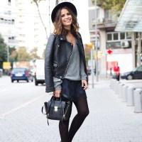 leather jacket x sweater x shorts