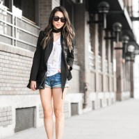 jacket x denim shorts