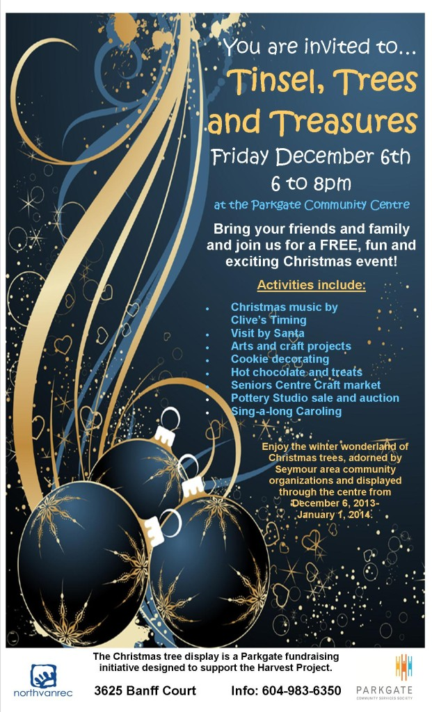 Tinsels, Trees and Treasures – Friday Dec 6th at Parkgate Community Centre