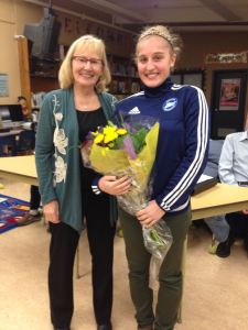 Lesley Brooks of the BCA and scholarship recipient Courtney Whittred at the Tues Nov 7 BCA meeting.
