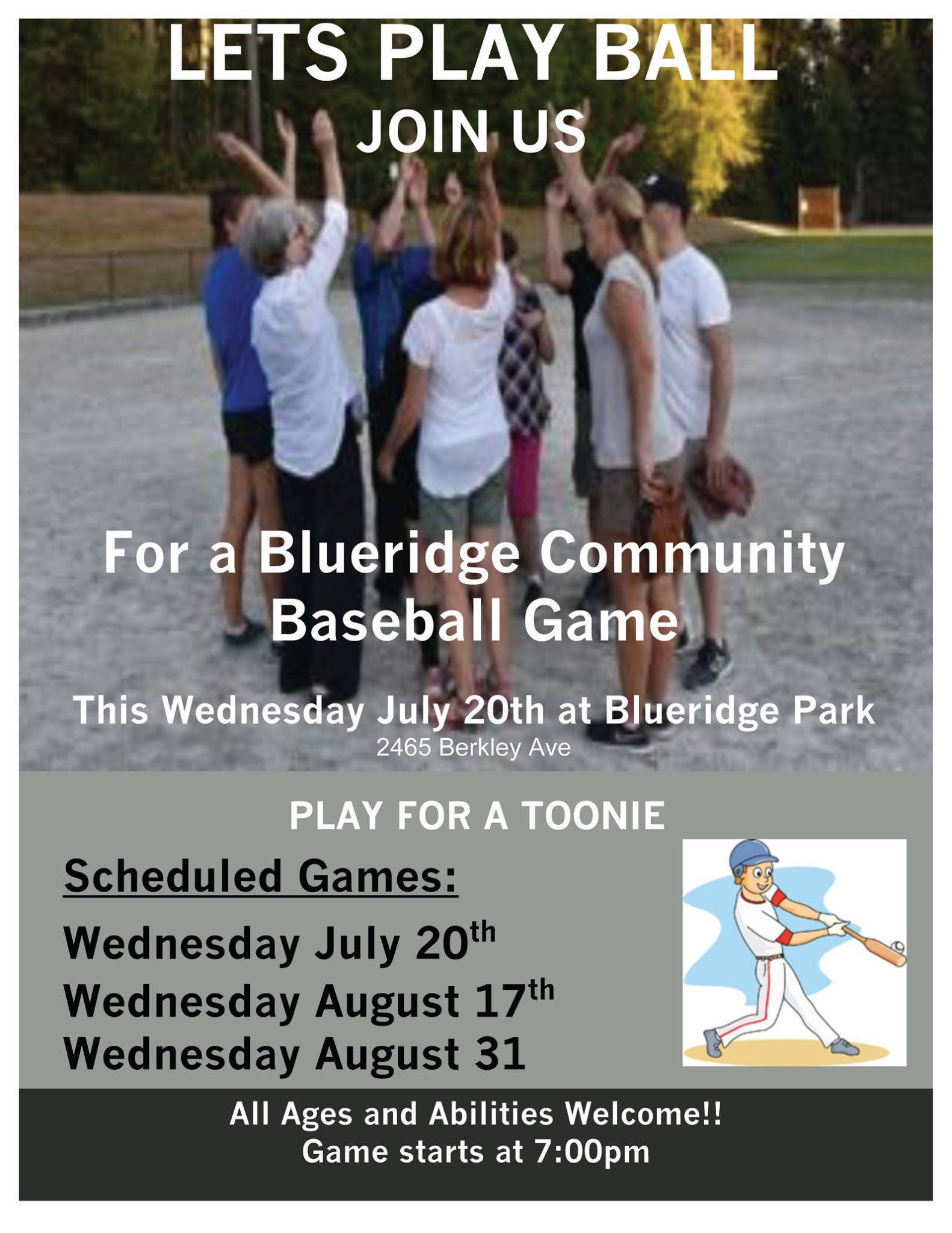 Community Baseball at Blueridge Park Tuesday Sept 6th