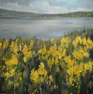 Credit: Rebecca Donald. Original oil painting of Spanish Broom looking toward Mace Point on Savary Island and the Mainland of the Sunshine Coast near Powell River and Lund, British Columbia.