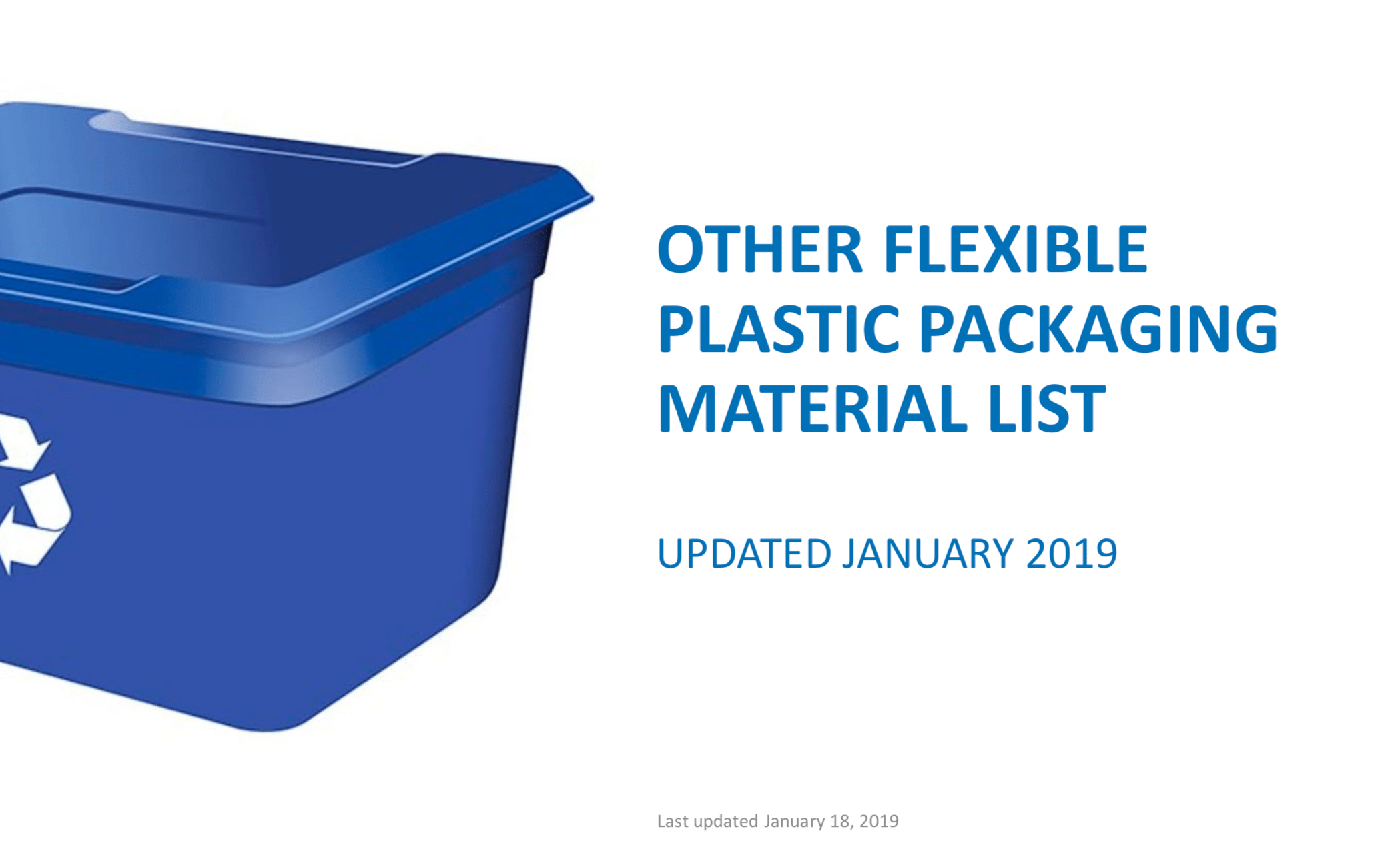 Update on Recycling Plastic Packaging Materials