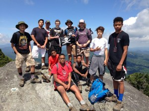 Group of hikers on a rock