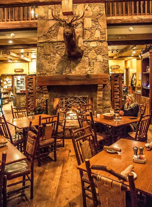 Fireplace at Harvest on Main, the best restaurant In Blue Ridge, GA