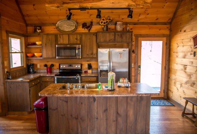 Kitchen at Wood Haven Retreat in Blue Ridge, GA