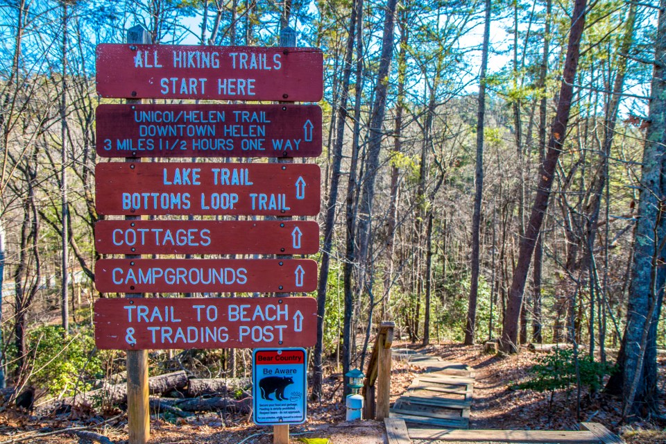 Guideposts for Unicoi State Park Hiking Trails