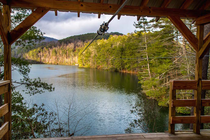 Zipline over Unicoi Lake in Unicoi State Park