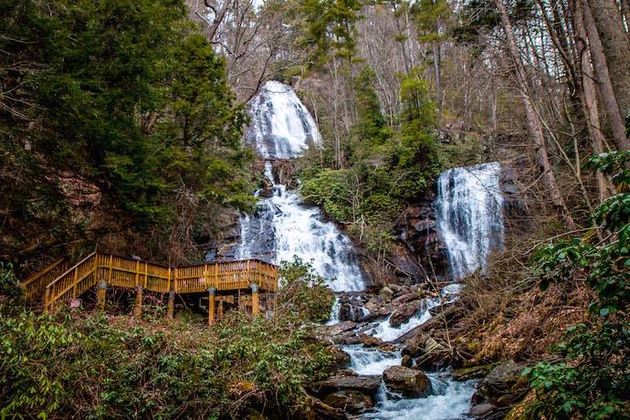 Curtis Creek and York Creek, the twin falls of Anna Ruby Falls, GA