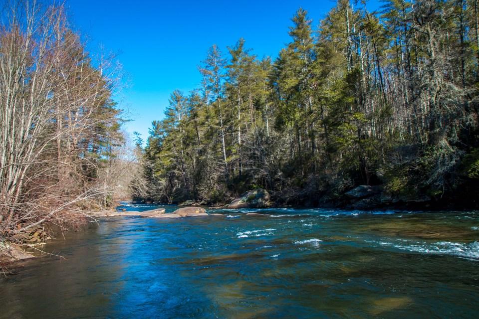 Toccoa River in Aska Adventure Area of Blue Ridge, Georgia