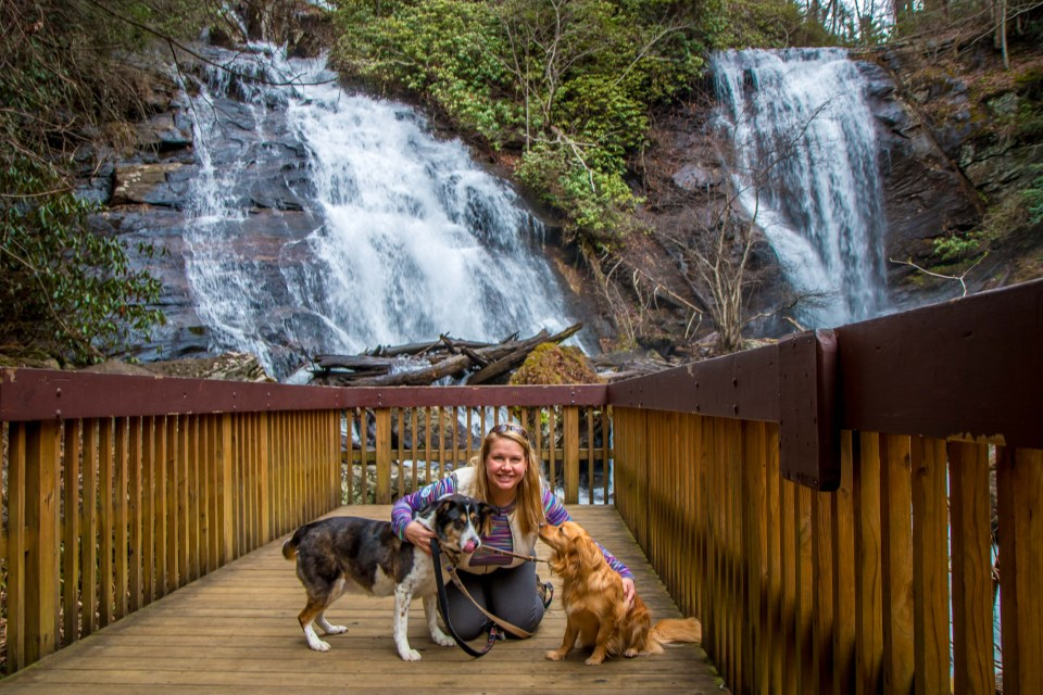 Mary Gabbett and Our Dogs at Anna Ruby Falls Viewing Platform