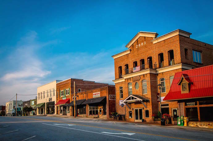 Sunrise on the Shops at Downtown Clayton GA