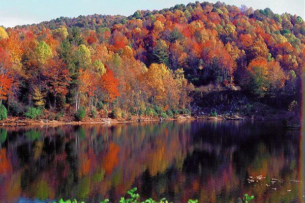 Fall Lake Reflections in Beech Mountain, NC