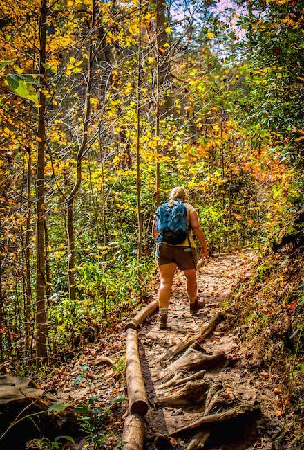 Mary Gabbett Hiking the Helton Creek Falls Trail