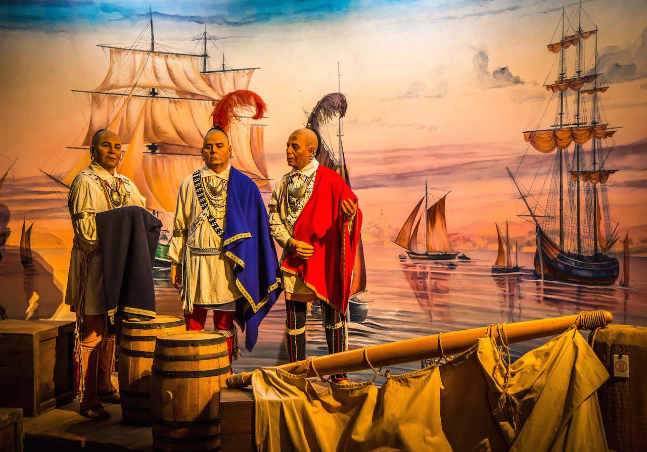 Meeting the British at Cherokee Museum in Cherokee NC