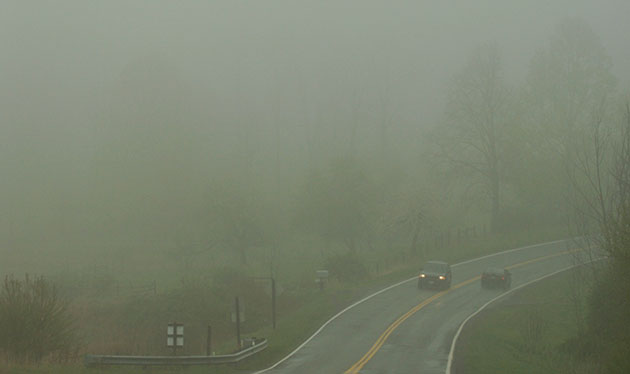 A foggy morning on U.S. 221 in Floyd County.