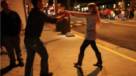 Dancing on the streets of Floyd on a Friday night.