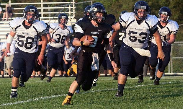 Floyd County QB Matt Bary rushes for first of his two touchdowns.