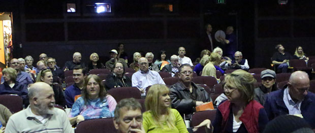 Audience at Grandin settles in to watch screening.