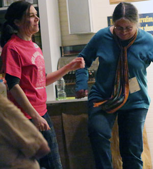 Radio Show co-host Elizabeth LaPrelle and her mother dance to the music of Mountain Thunder.