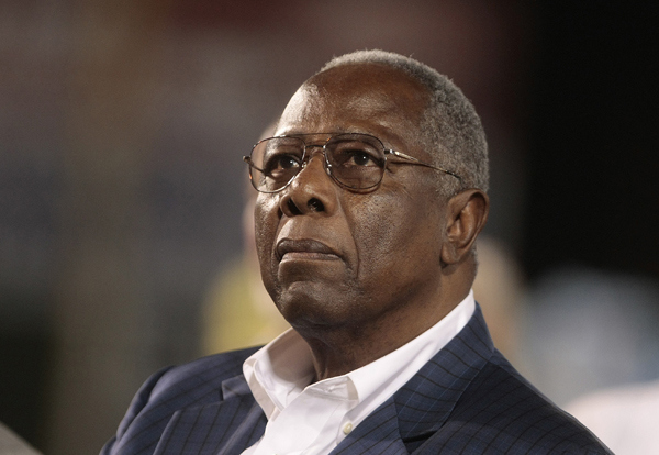 Major League Baseball Hall of Famer Hank Aaron  (Photo by Dave Martin/Getty Images)