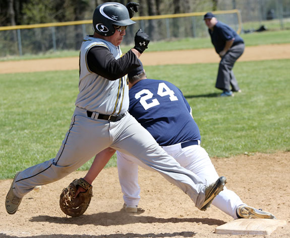 A close call by the umpire at first base