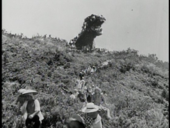 Godzilla's first appearance on an American movie screen in 1956.