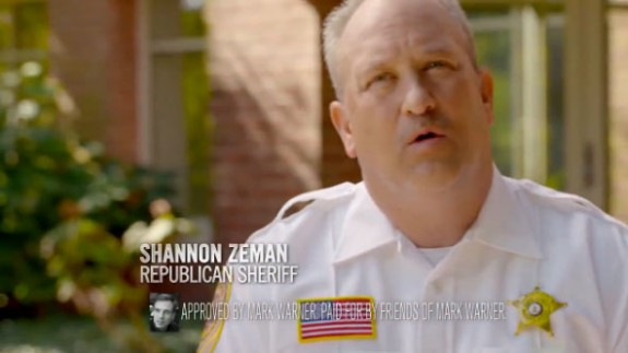 Sheriff Shannon Zeman appearing in the TV ad supporting Mark Warner.