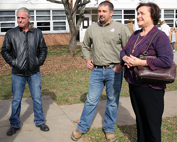 Kerry Underwood (left), Locust Grover Supervisor Lauren Yoder and Floyd Vice Mayor Karen Bingtham outside of Courthouse polling place on Election Day.