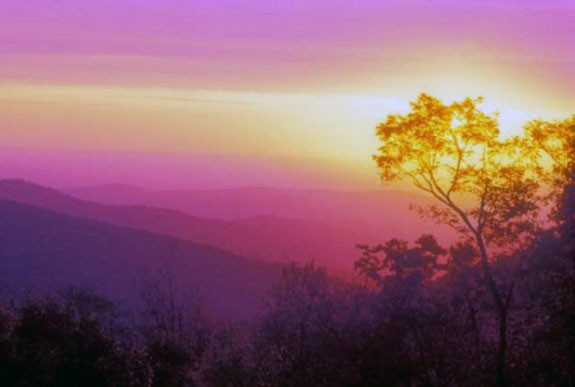 Sunrise along the Blue Ridge Parkway near Rocky Knob.