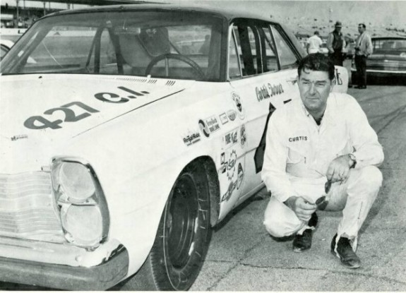 "Curtis Turner with his Wood Brothers Ford in 1966, shortly after his ""lifetime"" ban from NASCAR was lifted."