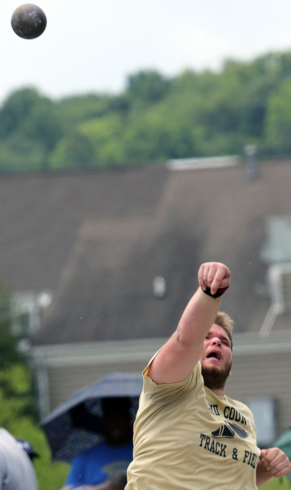 Floyd County Senior Jeffrey Keyton tosses shot put to a sixth place spot in the 2A division.