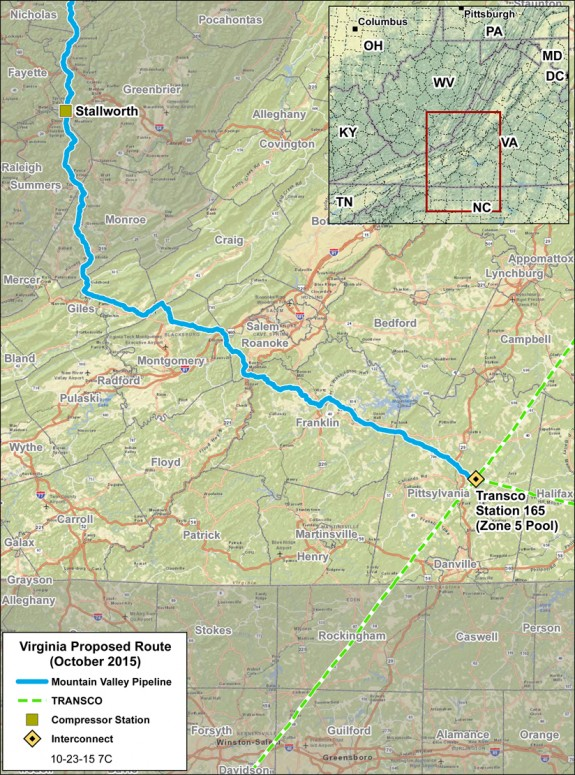 The latest formal routing of the proposed MVP natural gas pipeline through Virginia.