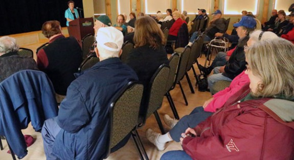 Margaret Turner Wright talks about her father with Sunday's gathered crowd.