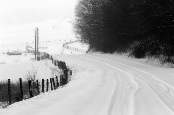 Sandy Flats Road north of Floyd just before noon Monday. Anyone seen a snowplow? (Photos by Doug Thompson)