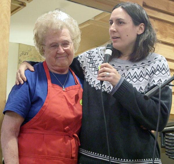 Alzora Wood (left) and Heather Krantz at Wood's surprise birthday celebration during the Friday Night Jamboree.