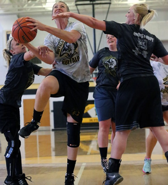 Floyd County High School's Lady Buffaloes alumni take to the courts.