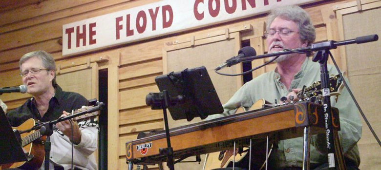"""David Cannaday and Dave Fason perform """"Sundown"""" at Gordon Lightfoot Tribute at The Floyd County Store. (A capture from video shot by Doug Thompson)"""