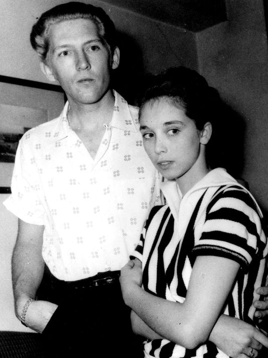 Jerry Lee Lewis with his third cousin and new bride, 13-year-old Myra, in 1958.