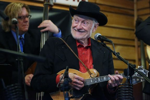 Virginia bluegrass legend Jesse McReynolds on stage at the Floyd Country Store.
