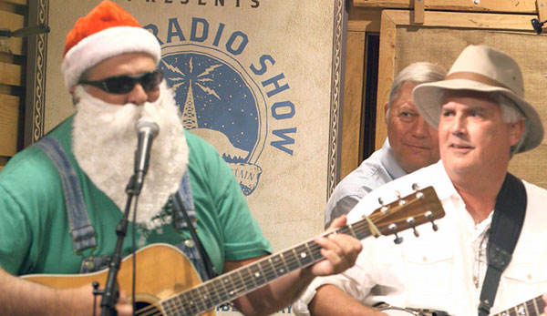 Santa Claus appears on stage during a set.