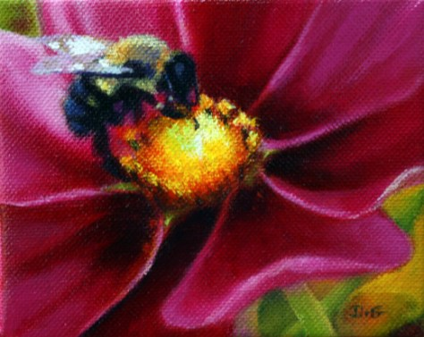 "Friendship. 4""x5"", acrylic on canvas, © Donna Grandin, 2011. Sold"