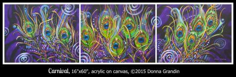 "Carnival, 16""x60"" tripych, © 2015 Donna Grandin. $1600."