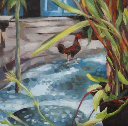 """In the courtyard"", 8""x8"", oil on board, © 2014 Donna Grandin."